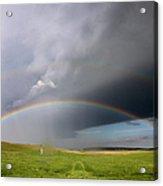 Storm Rainbow Prairie Acrylic Print by Ryan McGinnis