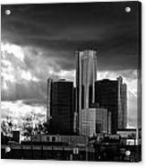 Stormy Detroit Gm Building - Black And White Acrylic Print by Alanna Pfeffer