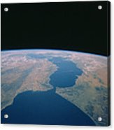 Strait Of Gibraltar From Space Shuttle Acrylic Print