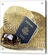 Straw Hat With Glasses And Passport Acrylic Print