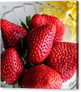 Strawberries And Yellow Mum Acrylic Print by Barbara Griffin