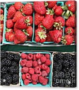 Strawberries Blackberries Rasberries - 5d17809 Acrylic Print by Wingsdomain Art and Photography