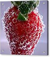 Strawberry In Soda Water Acrylic Print by Soultana Koleska