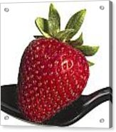Strawberry On A Black Spoon Against White No.0003 Acrylic Print