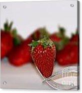 Strawberry On Spoon Acrylic Print