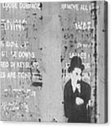 Street Graffiti Art - The Little Tramp Bw Acrylic Print