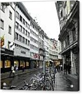 Street In Lucerne With Cycles And Rain Acrylic Print