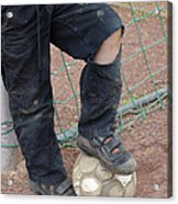 Street Soccer - Torn Trousers And Ball Acrylic Print