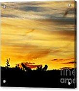 Stripey Sunset Silhouette Acrylic Print