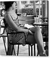 Stripped Dress Lady Acrylic Print