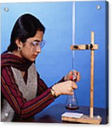 Student Performing Titration Acrylic Print