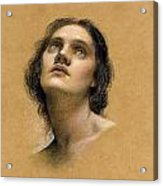 Study Of A Head Acrylic Print by Evelyn De Morgan