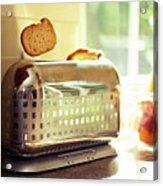 Stylish Chrome Toaster Popping Up Toast Acrylic Print by Kelly Sillaste