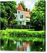 Suburban House With Reflection Acrylic Print