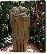 Suffering Circle Ceramic Sculpture Brown Clay  Acrylic Print