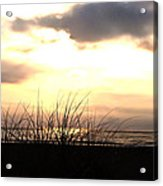 Sun Behind The Clouds On The Beach Acrylic Print