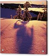 Sun Casting Shadows On Snow Covered Acrylic Print