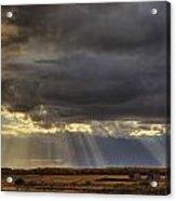 Sun Rays Through Clouds Over Three Old Acrylic Print