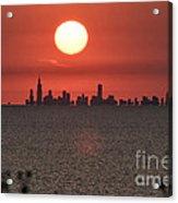 Sun Setting Over Chicago Acrylic Print