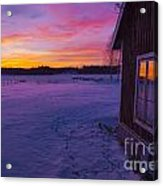 Sun Setting Over Winter Landscape And A Small House Acrylic Print