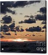 Sun Setting With Dramatic Clouds Over Lake Michigan Acrylic Print by Christopher Purcell