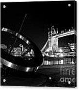 Sundial And Tower Bridge At Night Acrylic Print