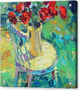 Sunny Impressionistic Rose Flowers Still Life Painting Acrylic Print