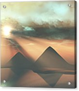 Sunrays Shine Down On Three Pyramids Acrylic Print