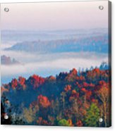 Sunrise And Fog In The Cumberland River Valley Acrylic Print