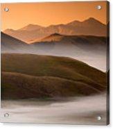 Sunrise Castelluccio Di Norcia In Morning Fog Acrylic Print