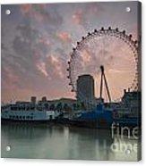 Sunrise London Eye Acrylic Print by Donald Davis
