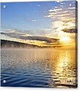 Sunrise On Foggy Lake Acrylic Print