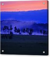 Sunrise Over Field With Trees Acrylic Print