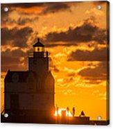 Sunrise Pier Fishermen Acrylic Print