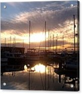 Sunset And Boats Acrylic Print