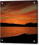 Sunset And Kayak Acrylic Print