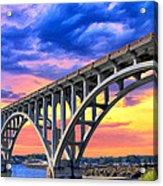 Sunset At Yaquina Bay Acrylic Print