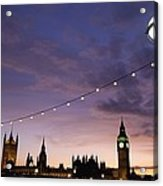 Sunset Behind Big Ben And The Houses Acrylic Print