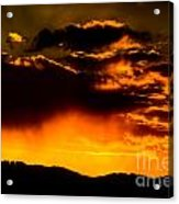 Sunset Behind Horsetooth Rock Acrylic Print by Harry Strharsky