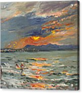 Sunset In Aegean Sea Acrylic Print