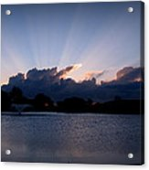 Sunset Light Rays Over The Pond Acrylic Print