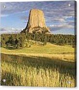 Sunset On Devils Tower Wyoming United Acrylic Print