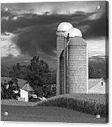 Sunset On The Farm Bw Acrylic Print by David Dehner
