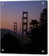Sunset On The Golden Gate Acrylic Print by Tim Mulina