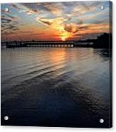 Sunset Over Gulfport Casino In Gulfport Florida Acrylic Print