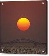 Sunset Over Robert Moses Bridge Acrylic Print