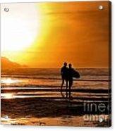 Sunset Surfers Acrylic Print by Richard Thomas
