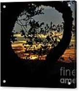 Sunset Through A Heart Of Branches Acrylic Print