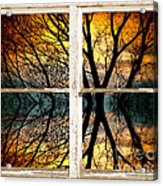Sunset Tree Silhouette Abstract Picture Window View Acrylic Print