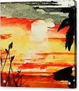 Sunset Under The Palm Tree Acrylic Print
